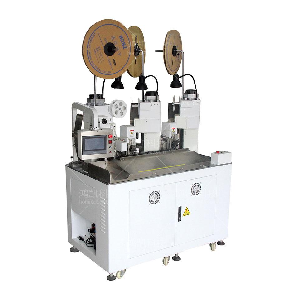 YHK-003全自动双线合压三端子铆接机